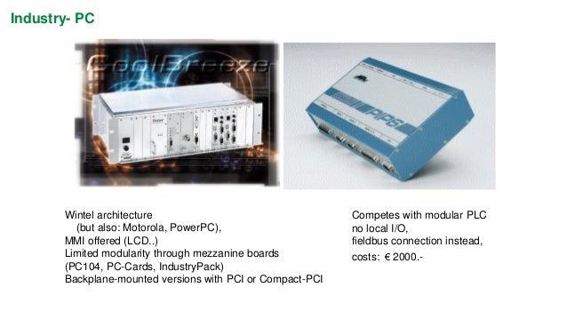 Soft-PLC (PC as PLC)  • PC as engineering workstation  • PC as human interface (Visual Basic, Intellution, Wonderware)  • ...