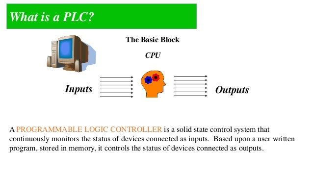 A PLC is simply a block / device use to MANIPULATE input signal by using certain  RULES  The manipulation process called C...