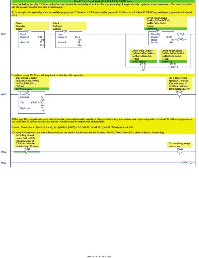plc programming example day of week answ