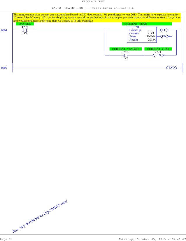 PLC Programming Example - PLC Clock - Quiz Slide 2