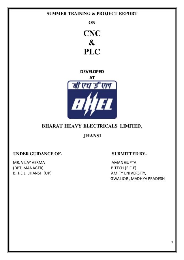 Plc programmable logic controllers cnc computer numeric control 1 summer training project report on cnc plc developed at bharat heavy electricals limited publicscrutiny Image collections