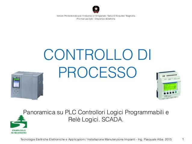 Tecnologie Elettriche Elettroniche e Applicazioni / Installazione Manutenzione Impianti - Ing. Pasquale Alba 2015 CONTROLL...