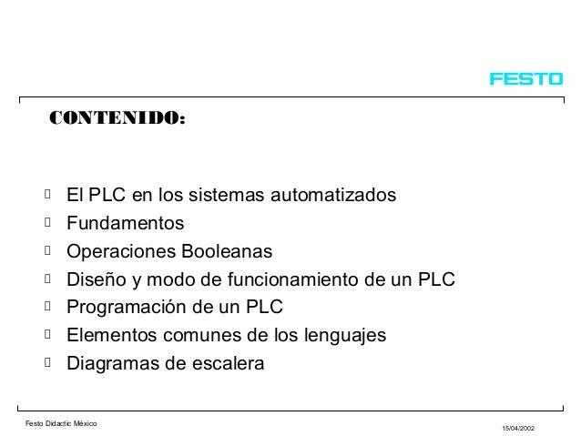 Festo Didactic México15/04/2002CONTENIDO:El PLC en los sistemas automatizadosFundamentosOperaciones BooleanasDiseño y modo...