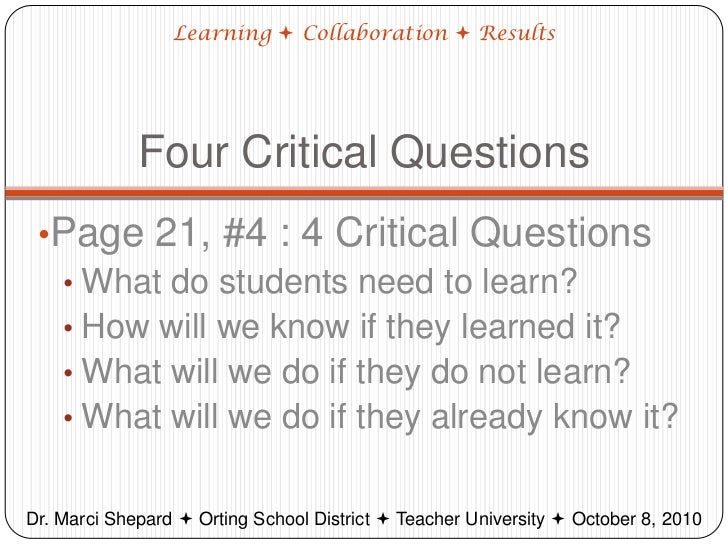 Collaborative Teaching Questionnaire ~ Introduction to plcs