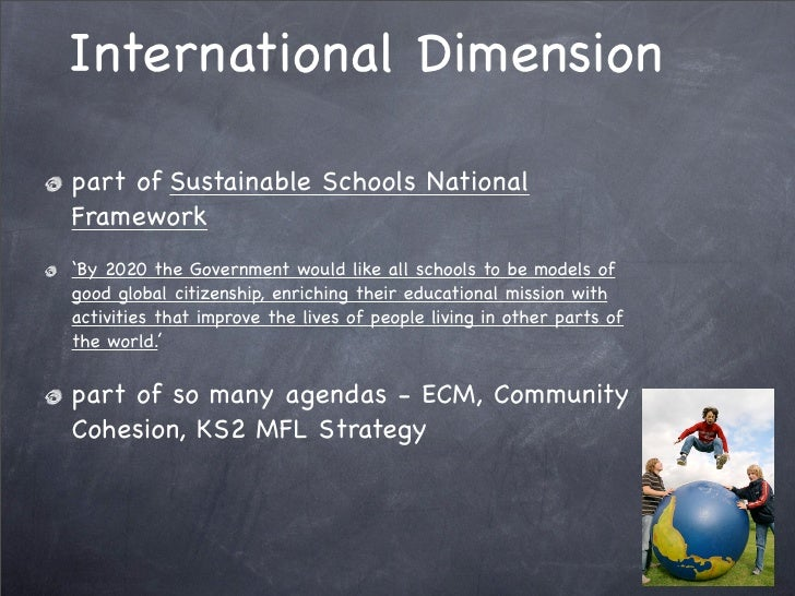 International Dimension  part of Sustainable Schools National Framework 'By 2020 the Government would like all schools to ...