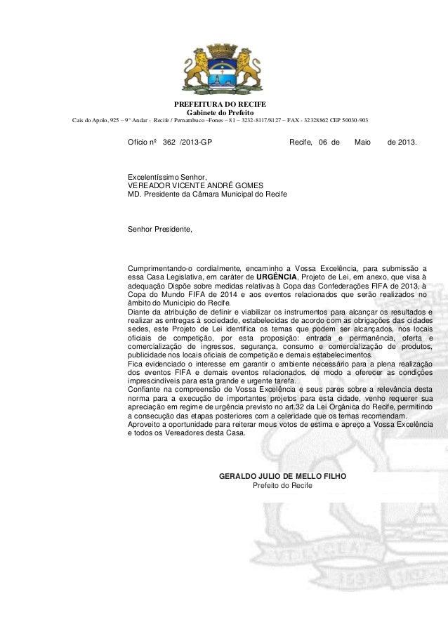 PREFEITURA DO RECIFEGabinete do PrefeitoCais do Apolo, 925 – 9° Andar - Recife / Pernambuco –Fones – 81 – 3232-8117/8127 –...