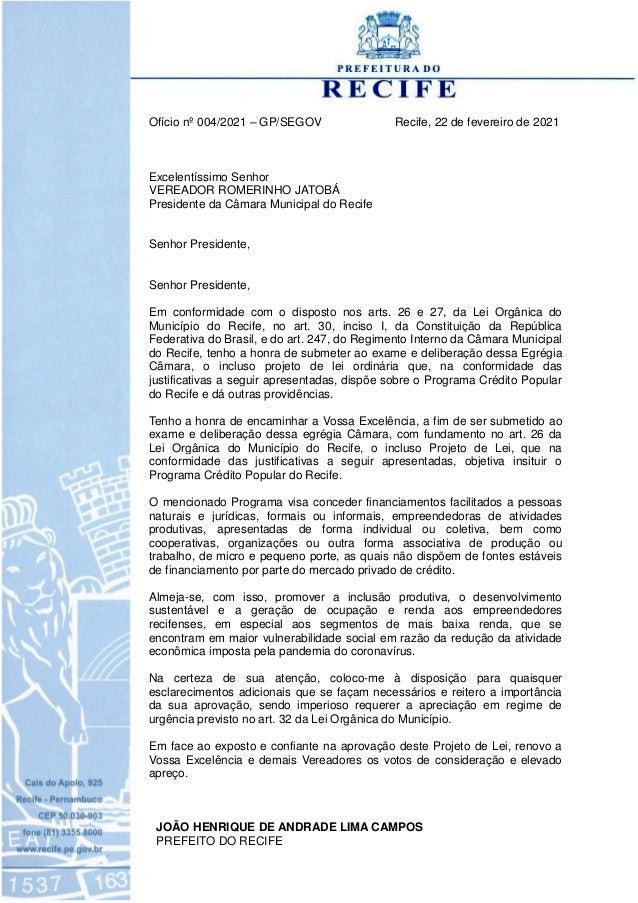 Ofício nº 004/2021 – GP/SEGOV Recife, 22 de fevereiro de 2021 Excelentíssimo Senhor VEREADOR ROMERINHO JATOBÁ Presidente d...