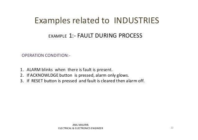 Examples related to INDUSTRIES  EXAMPLE 1:- FAULT DURING PROCESS  OPERATION CONDITION:-  1. ALARM blinks when there is ffa...