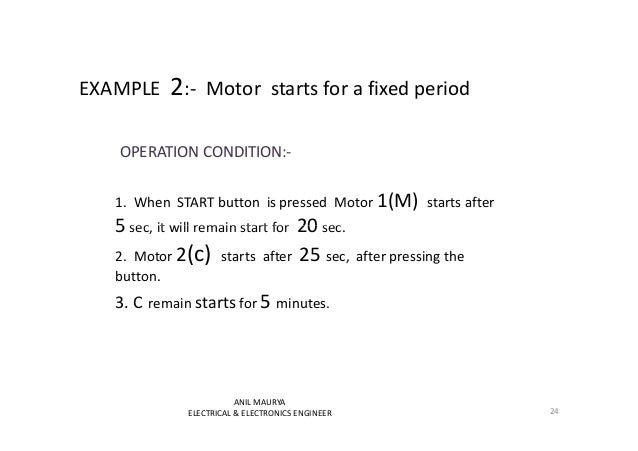 EXAMPLE 2:- Motor starts for a fixed period  OPERATION CONDITION:-  1. When START button is pressed Motor 1(M) starts afte...