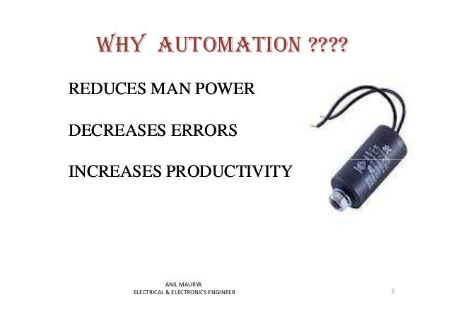 WHY AUTOMATION ????  REDUCES MAN POWER  DECREASES ERRORS  INCREASES PRODUCTIVITY  5  ANIL MAURYA  ELECTRICAL & ELECTRONICS...