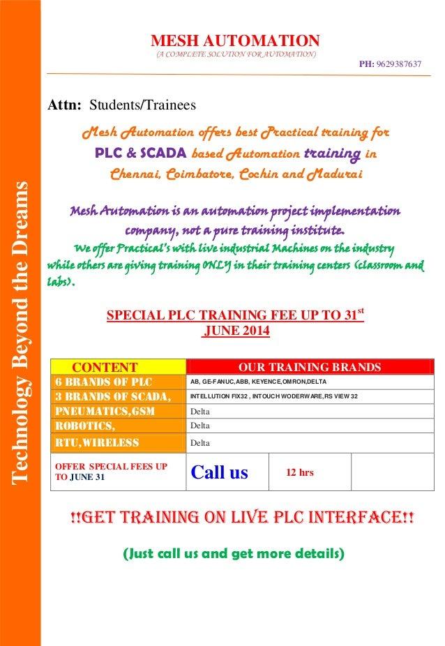 Plc & scada course details