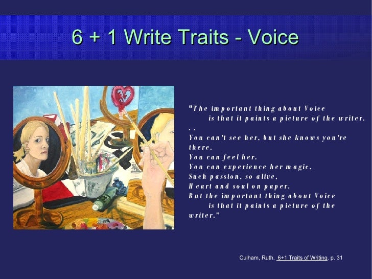 """6 + 1 Write Traits - Voice """" The important thing about Voice is that it paints a picture of the writer. . .  You can't see..."""