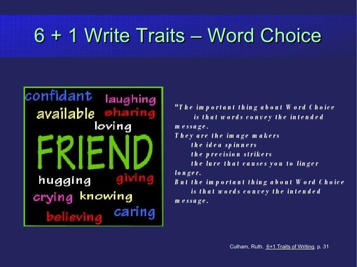 "6 + 1 Write Traits – Word Choice "" The important thing about Word Choice is that words convey the intended message.  They ..."