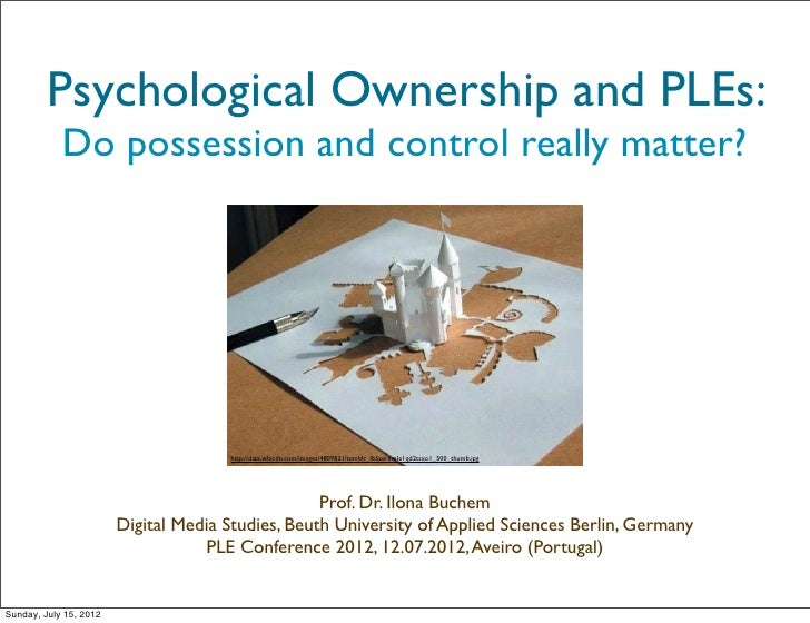 Psychological Ownership and PLEs:            Do possession and control really matter?                                     ...