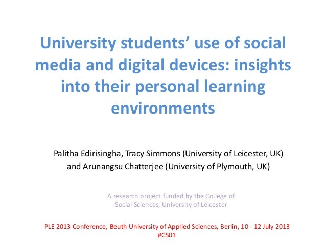 University students' use of social media and digital devices: insights into their personal learning environments Palitha E...