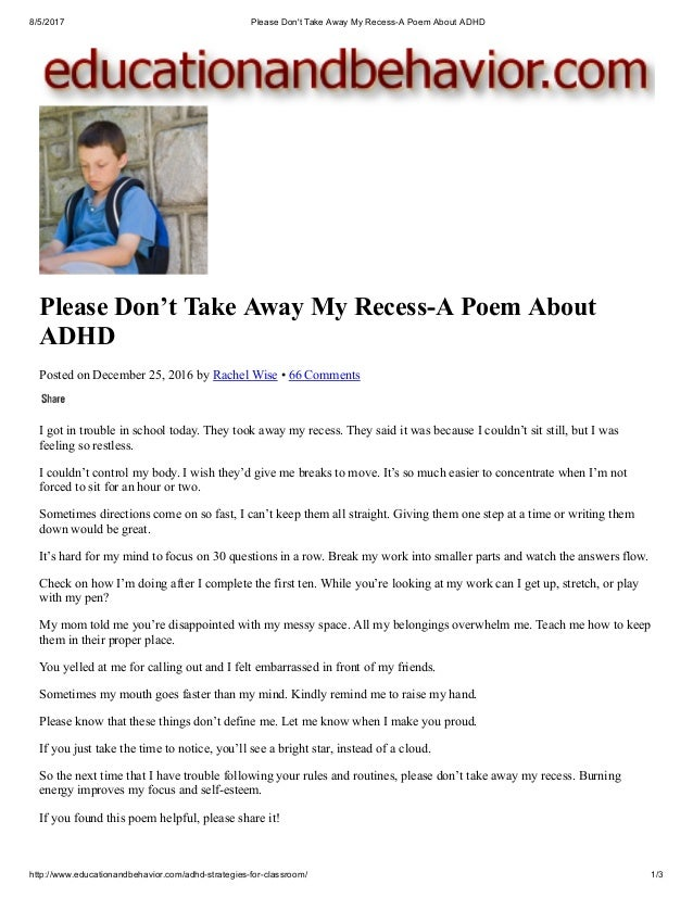 Please Dont Take Away My Recess A Poem About Adhd