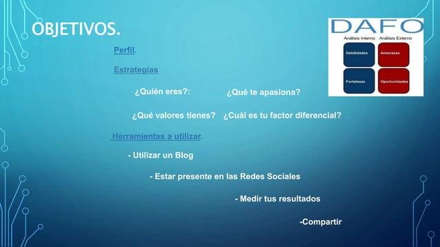 OBJETIVOS. Perfil. Estrategias Herramientas a utilizar. - Utilizar un Blog - Estar presente en las Redes Sociales - Medir ...