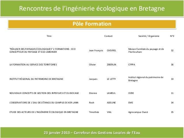 Rencontres de l'ingénierie écologique en Bretagne                                                   Pôle Formation        ...