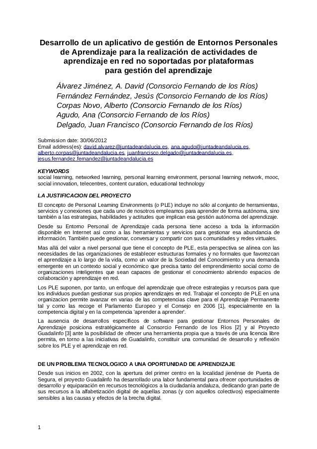 Desarrollo de un aplicativo de gestión de Entornos Personales    de Aprendizaje para la realización de actividades de     ...