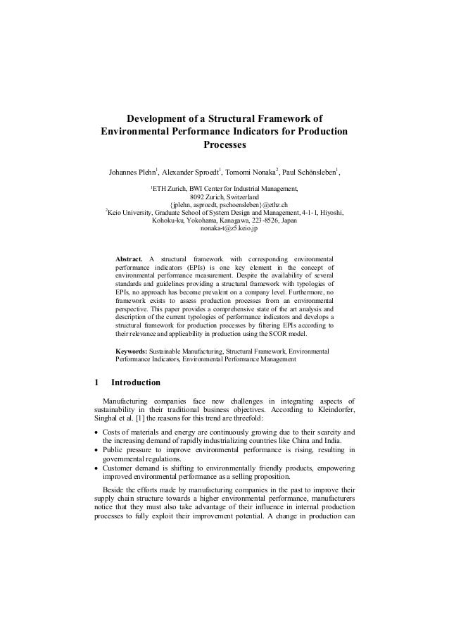 Development of a Structural Framework of Environmental Performance Indicators for Production Processes Johannes Plehn1 , A...