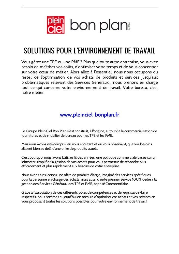 1    SOLUTIONS POUR L'ENVIRONNEMENT DE TRAVAILVous gérez une TPE ou une PME ? Plus que toute autre entreprise, vous avezbe...