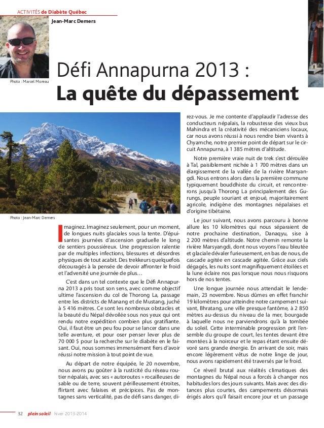 ACTIVITÉS de Diabète Québec Jean-Marc Demers  Photo : Marcel Moreau  Défi Annapurna 2013: La quête du dépassement rez-vou...
