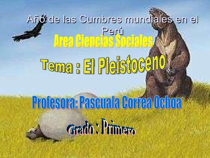 Año de las Cumbres mundiales en el Perú Area Ciencias Sociales Profesora: Pascuala Correa Ochoa Grado : Primero Tema : El ...