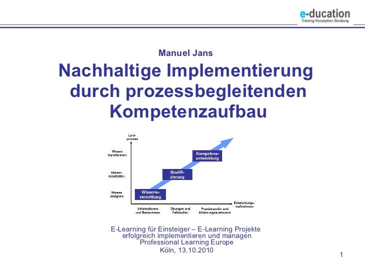Manuel Jans   Nachhaltige Implementierung  durch prozessbegleitenden Kompetenzaufbau E-Learning für Einsteiger – E-Learnin...