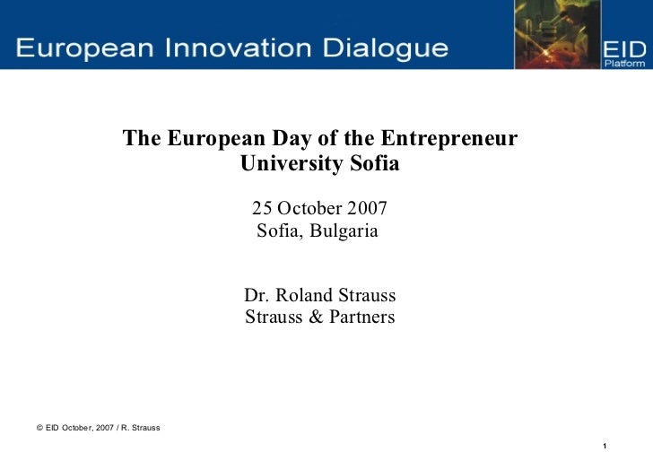 The European Day of the Entrepreneur                                University Sofia                                    25...