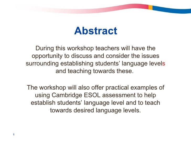 Abstract During this workshop teachers will have the opportunity to discuss and consider the issues surrounding establishi...