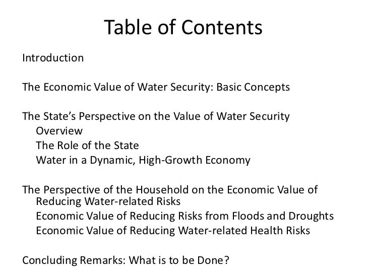 economic value of water Chapter reviews the major benefits of watershed conservation and discusses the economic value  water is extracted and  to estimate the value of watershed.