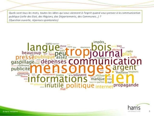 Quels sont tous les mots, toutes les idées qui vous viennent à l'esprit quand vous pensez à la communication        publiq...