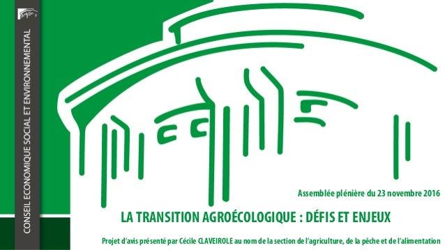 LA TRANSITION AGROÉCOLOGIQUE : DÉFIS ET ENJEUX Assemblée plénière du 23 novembre 2016 Projet d'avis présenté par Cécile CL...