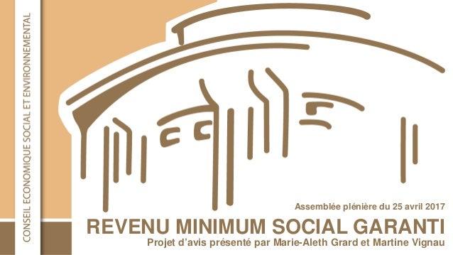 REVENU MINIMUM SOCIAL GARANTI Assemblée plénière du 25 avril 2017 Projet d'avis présenté par Marie-Aleth Grard et Martine ...