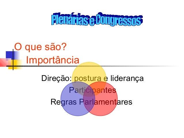 O que são? Importância Direção: postura e liderança Participantes Regras Parlamentares