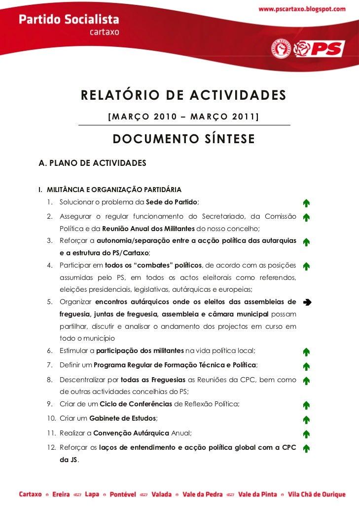 RELATÓRIO DE ACTIVIDADES                      [MARÇO 2010 – MARÇO 2011]                       D O CU MENT O SÍN TE SEA. PL...