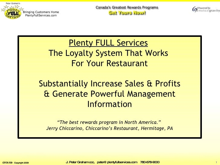 The Loyalty System that Keeps  Working for YOU by  Plenty FULL Services    Substantially Increase Sales & Profits   Genera...