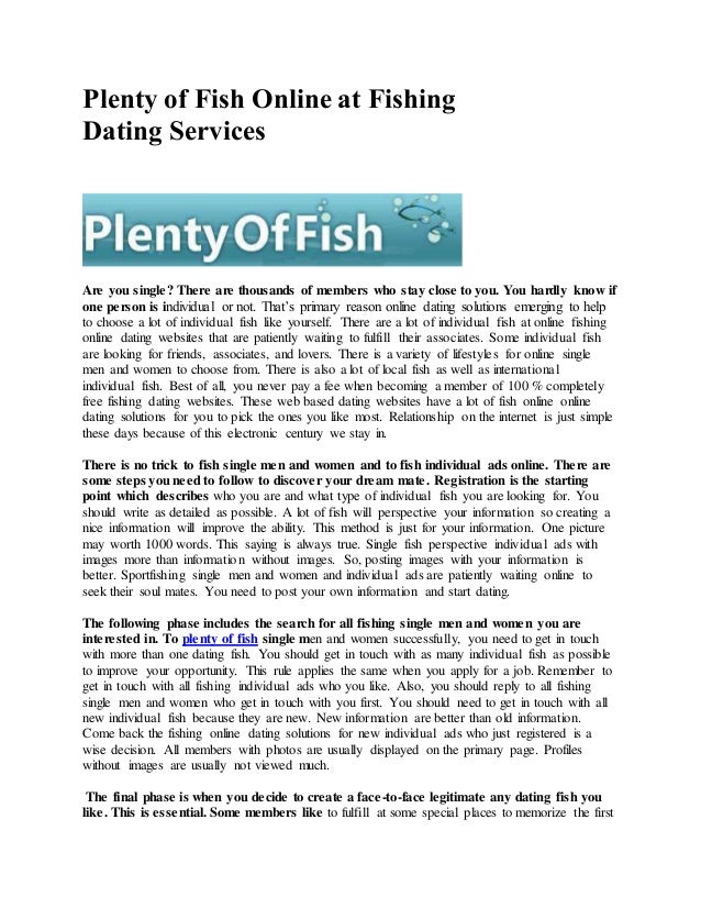 plenty of fish free dating services