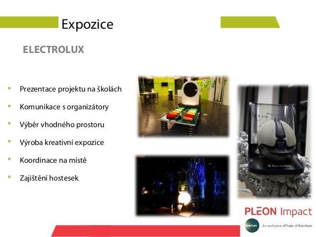 Expozice    ELECTROLUX   Prezentace projektu na školách   Komunikace s organizátory   Výběr vhodného prostoru   Výroba...