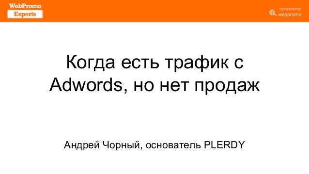 Когда есть трафик с Adwords, но нет продаж Андрей Чорный, основатель PLERDY
