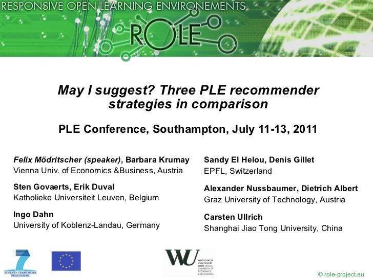 May I suggest? Three PLE recommender strategies in comparison PLE Conference, Southampton, July 11-13, 2011 <ul><li>Felix ...