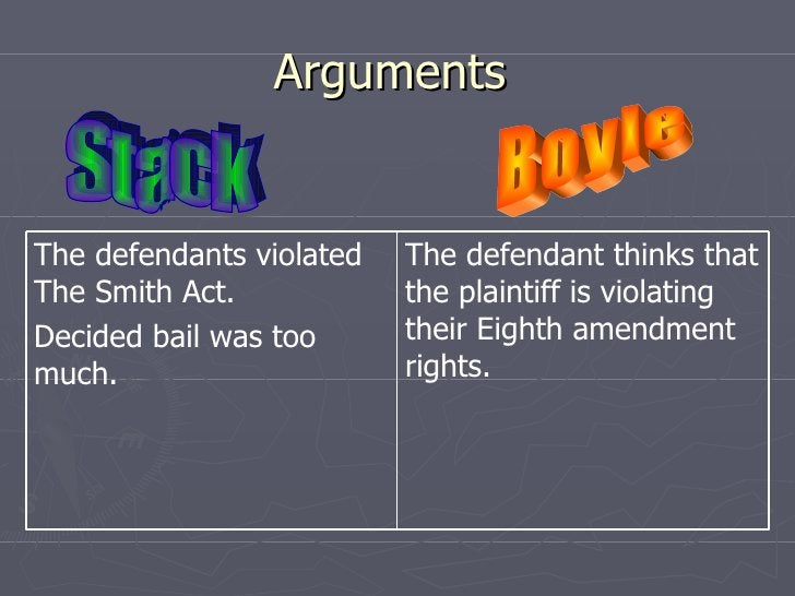 Arguments  Stack Boyle  The defendant thinks that the plaintiff is violating their Eighth amendment rights.  The defendant...