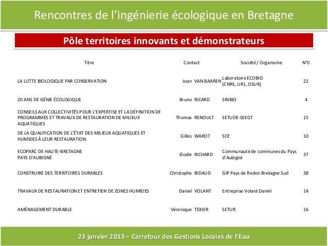 Rencontres de l'ingénierie écologique en Bretagne                    Pôle territoires innovants et démonstrateurs         ...