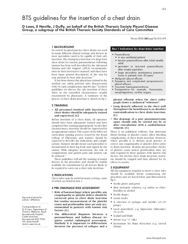 ii53BTS guidelines for the insertion of a chest drainD Laws, E Neville, J Duffy, on behalf of the British Thoracic Society...