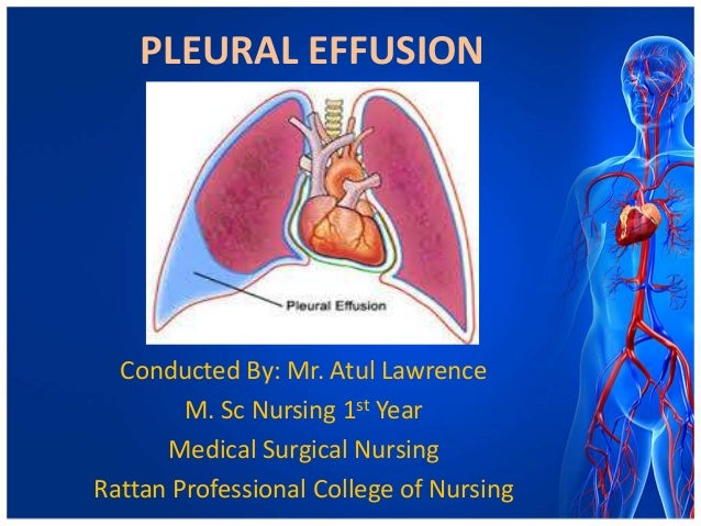 PLEURAL EFFUSION  Conducted By: Mr. Atul Lawrence M. Sc Nursing 1st Year Medical Surgical Nursing Rattan Professional Coll...