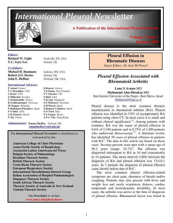 International Pleural Newsletter                                                       A Publication of the International ...