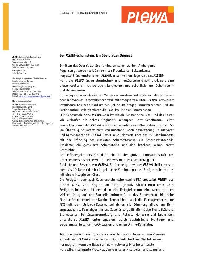 03.06.2013 PLEWA PR Bericht 1/2013  PLEWA SchornsteinTechnik und HeizSysteme GmbH Tongrubenstraße 10 92421 Schwandorf - Kl...