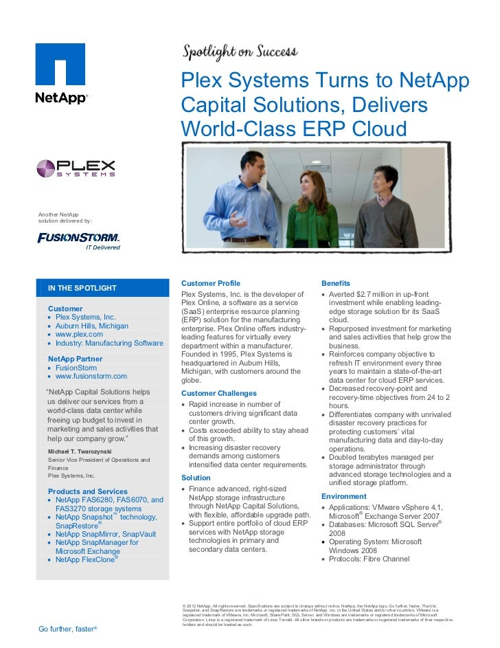 Plex Systems Turns to NetApp                                              Capital Solutions, Delivers                     ...