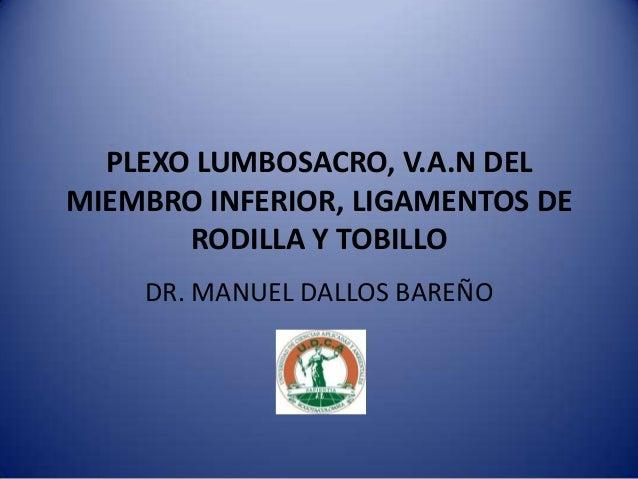 PLEXO LUMBOSACRO, V.A.N DELMIEMBRO INFERIOR, LIGAMENTOS DERODILLA Y TOBILLODR. MANUEL DALLOS BAREÑO