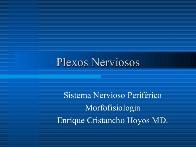 Plexos Nerviosos Sistema Nervioso Periférico       MorfofisiologíaEnrique Cristancho Hoyos MD.